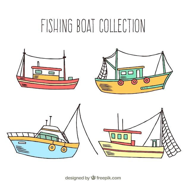 Pack De Barcos Pesqueros Dibujados A Mano Descargar Vectores Gratis