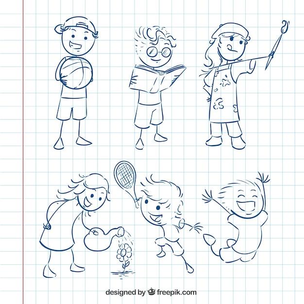 Pack de bocetos de niños | Descargar Vectores gratis