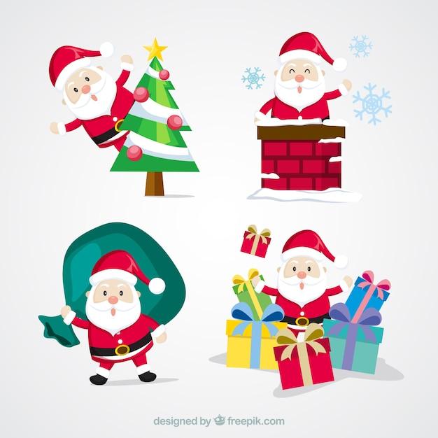 Pack bonito de santa claus con objetos de navidad descargar vectores gratis - Objetos de navidad ...