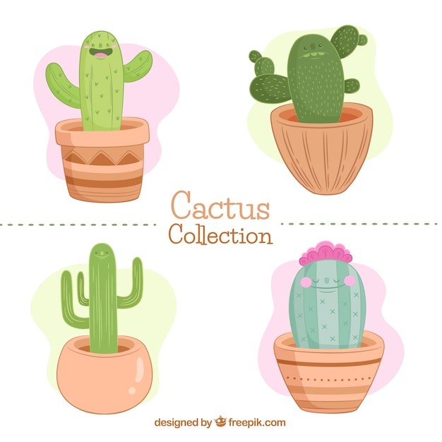 Pack De Bonitos Y Adorables Cactus Descargar Vectores Gratis - Cactus-bonitos