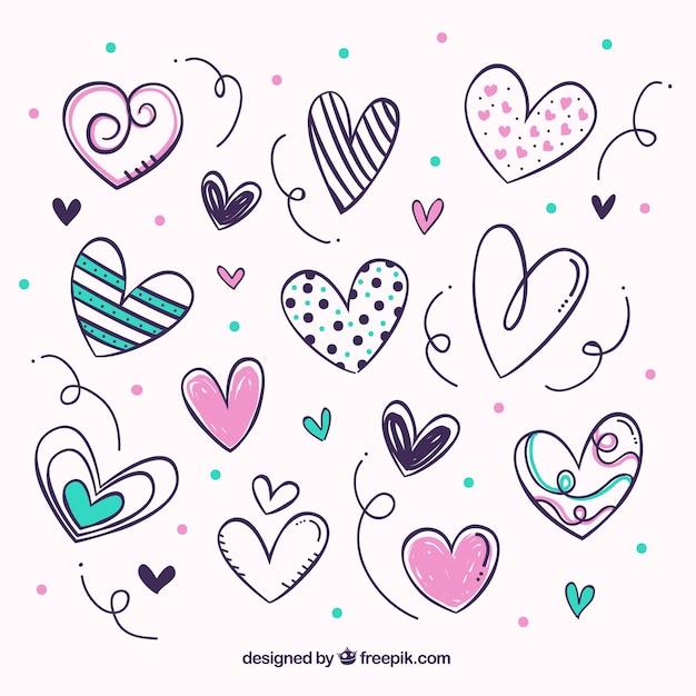 Pack de bonitos corazones vector gratuito