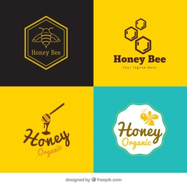 Pack de bonitos logotipos de miel vector gratuito