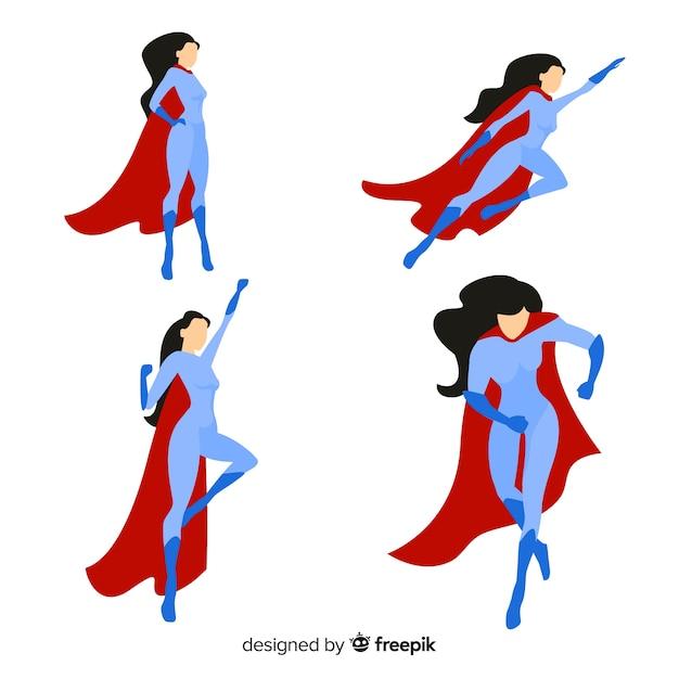 Pack de caracteres femeninos de superheroes en estilo de dibujo animado vector gratuito