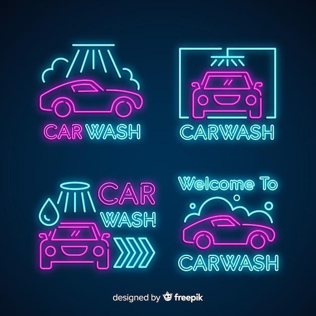 Pack carteles neón lavado de coches vector gratuito