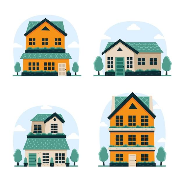 Pack casa de diseño plano vector gratuito