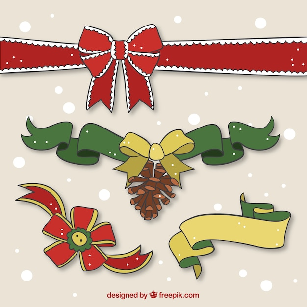 Pack de cintas de regalo dibujadas a mano Vector Premium