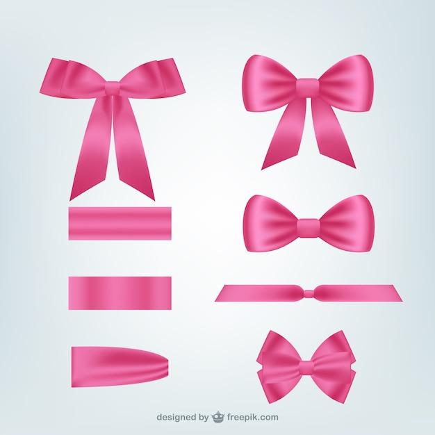 Pack de cintas rosas vector gratuito
