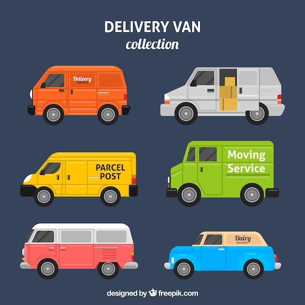 Pack colorido de furgonetas de reparto vector gratuito