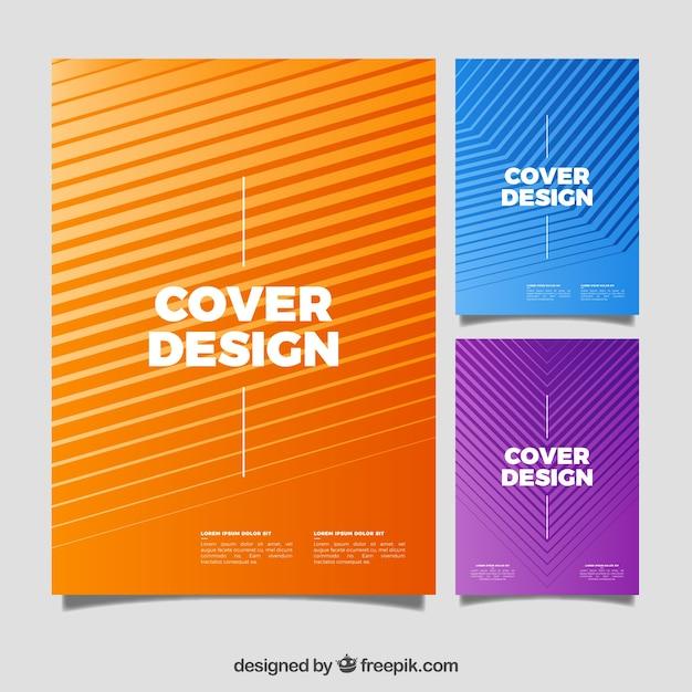 Pack de covers con líneas abstractas vector gratuito