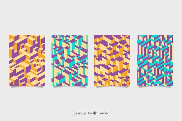 Pack covers patrón isométrico colorido vector gratuito