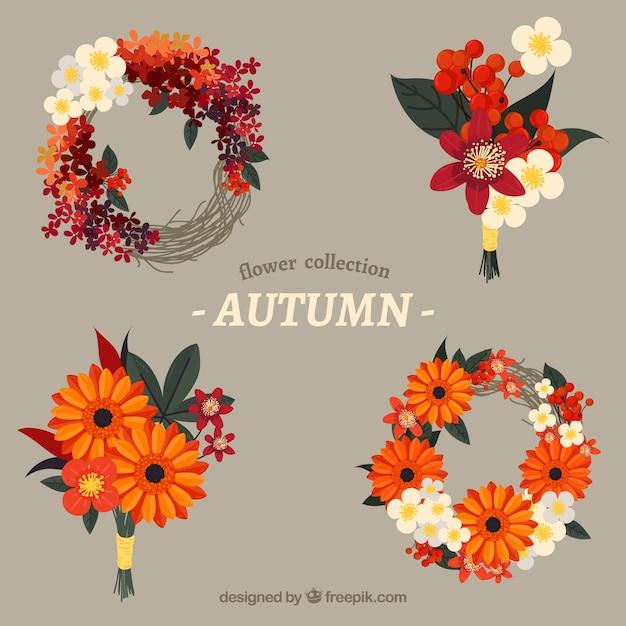 Pack de cuatro coronas florales de otoño vector gratuito