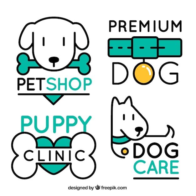 Pack de cuatro logos de perros con elementos verdes Vector Premium