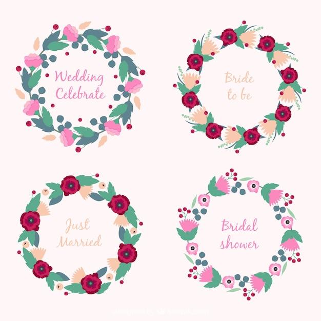 Pack de cuatro marcos de boda redondos con flores bonitas ...