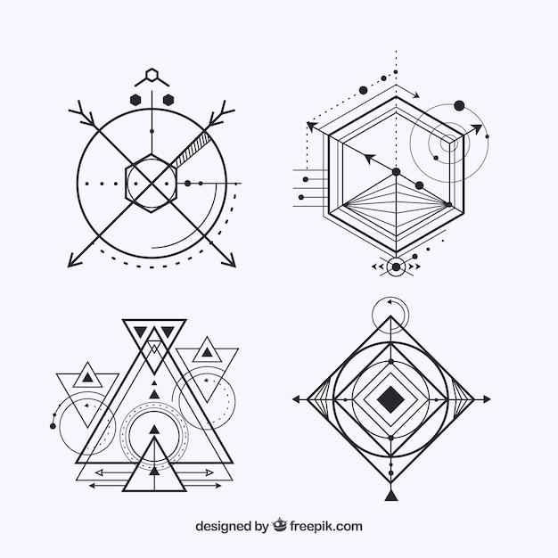 Pack de cuatro tatuajes con formas geométricas vector gratuito