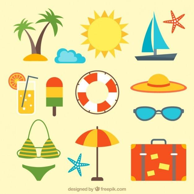 Pack de accesorios de playa | Descargar Vectores gratis