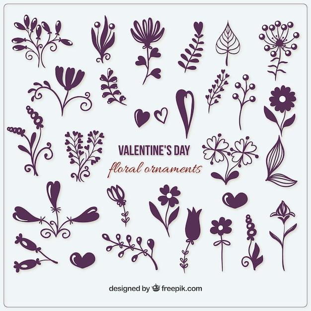 Pack de adornos de flores y corazones Descargar Vectores Premium