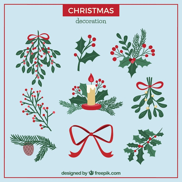 Pack de adornos navide os dibujados a mano descargar - Adornos navidenos a mano ...