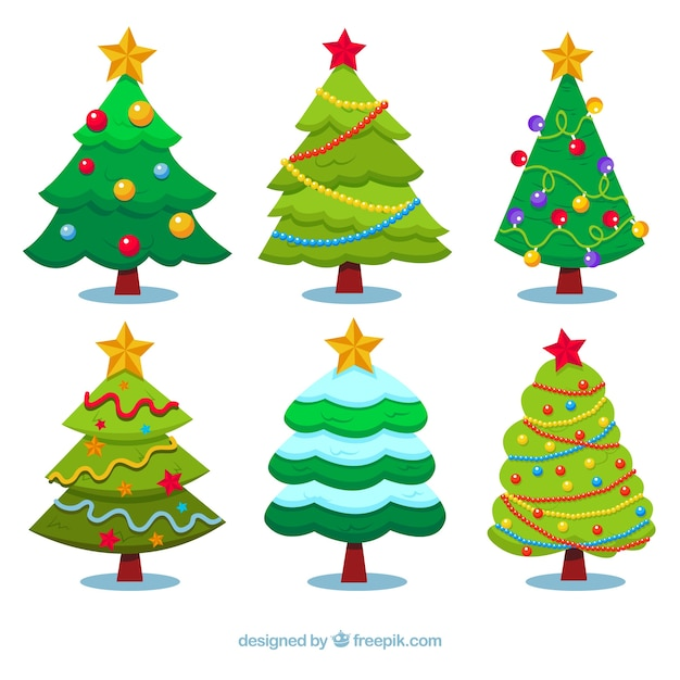 Pack de rboles de navidad decorados descargar vectores gratis - Imagenes de arboles de navidad decorados ...