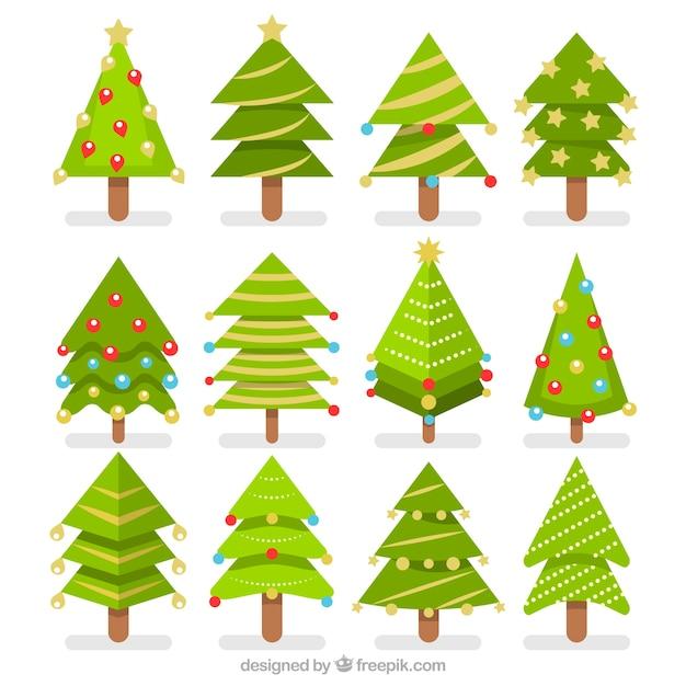 Pack de rboles de navidad en dise o plano descargar - Arbol de navidad diseno ...
