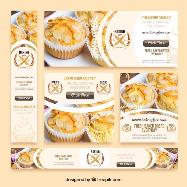 Pack de banners de pastelería Vector Gratis