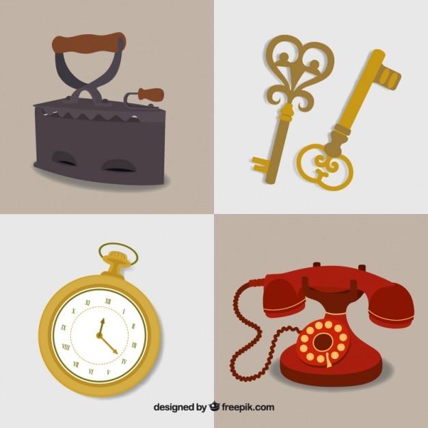 Pack de bonitos objetos antiguos descargar vectores gratis for Compra de objetos antiguos