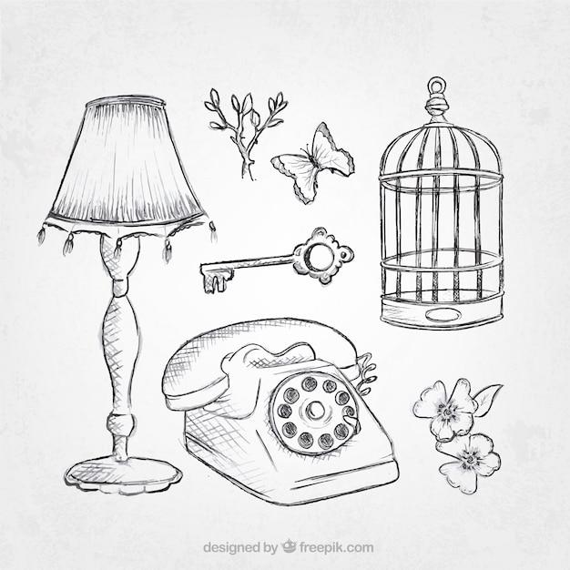 Pack de bosquejos de objetos vintage descargar vectores - Objetos vintage ...