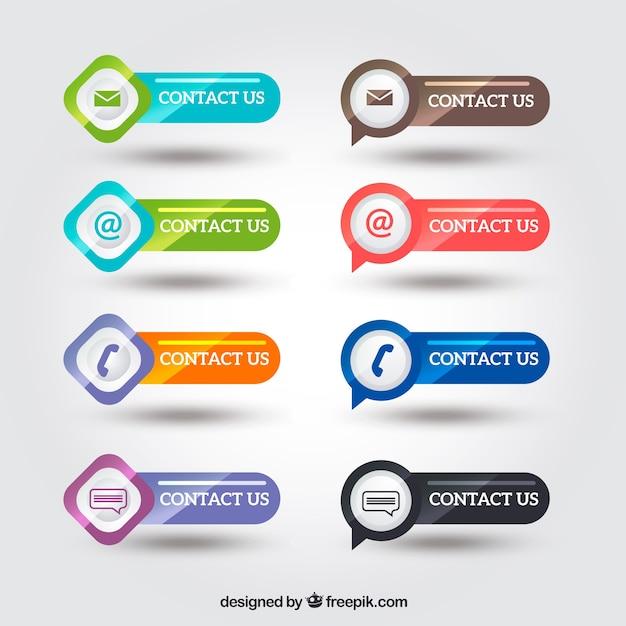 Pack de botones brillantes de contacto  Vector Gratis