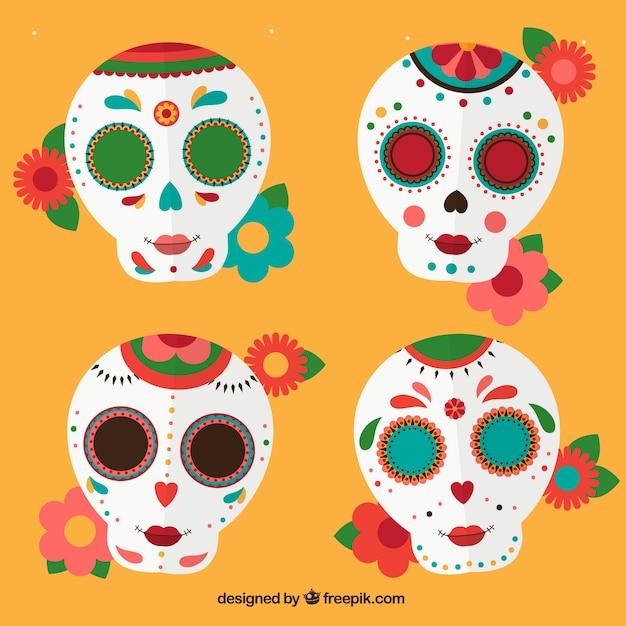 Pack de calaveras mexicanas con flores | Descargar