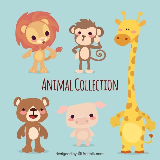 Pack de cinco animales lindos Vector Gratis