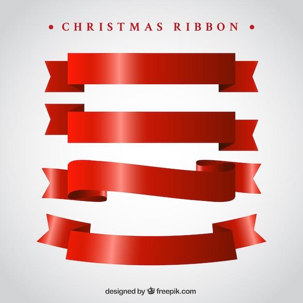 pack de cintas rojas vintage para navidad vector gratis