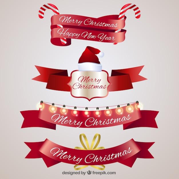 Pack de cintas vintage de navidad descargar vectores gratis for Cintas de navidad