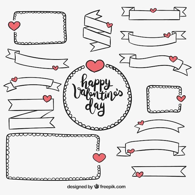 Pack de cintas y marcos dibujados a mano de san valentín   Descargar ...