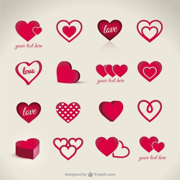 Pack de corazones de San Valentín | Descargar Vectores gratis