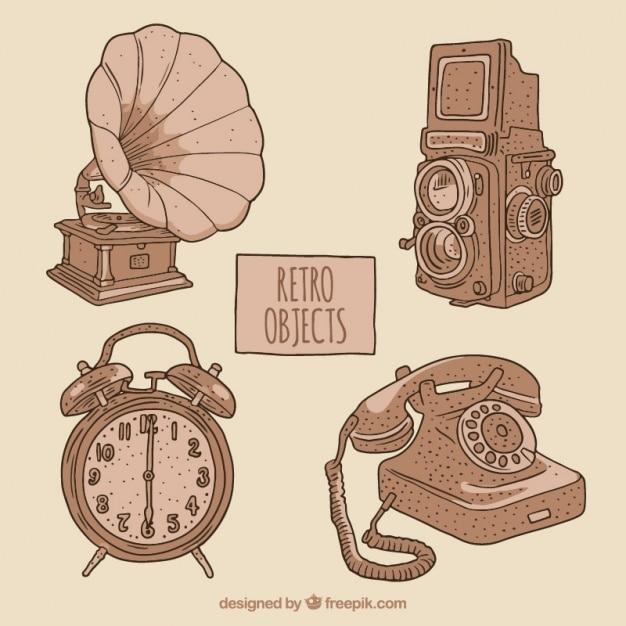 Pack de cuatro bocetos de objetos vintage descargar - Objetos vintage ...