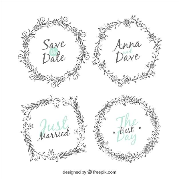 Pack de cuatro marcos de boda redondos   Descargar Vectores gratis