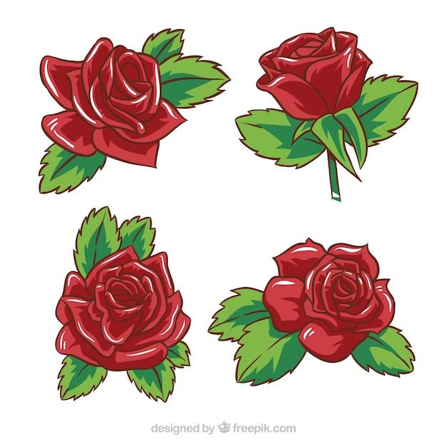 Pack de cuatro rosas rojas dibujadas a mano | Descargar