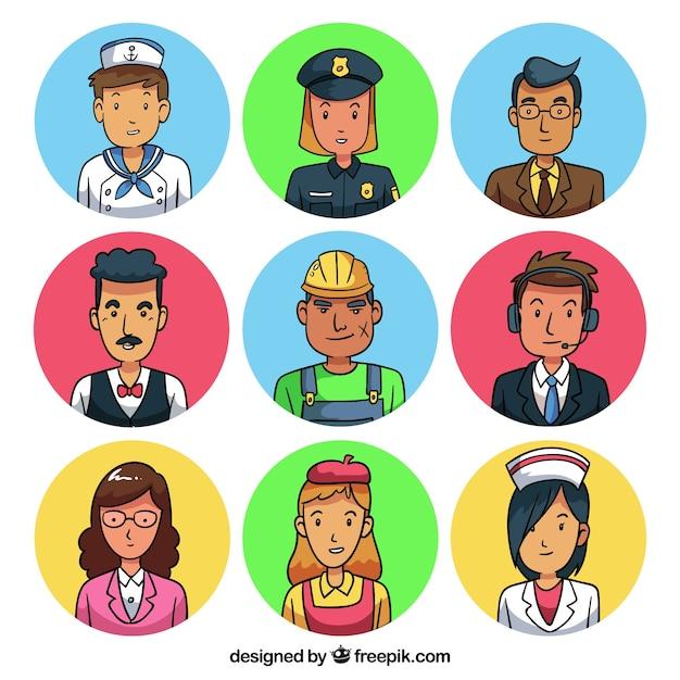 Pack de dibujos animados con avatares de trabajadores