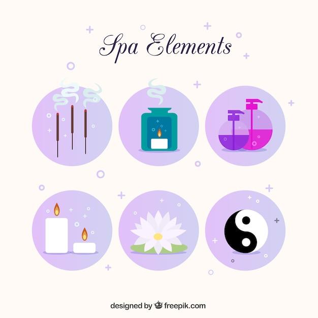 Pack de elementos de spa con símbolo yin yang Vector Gratis