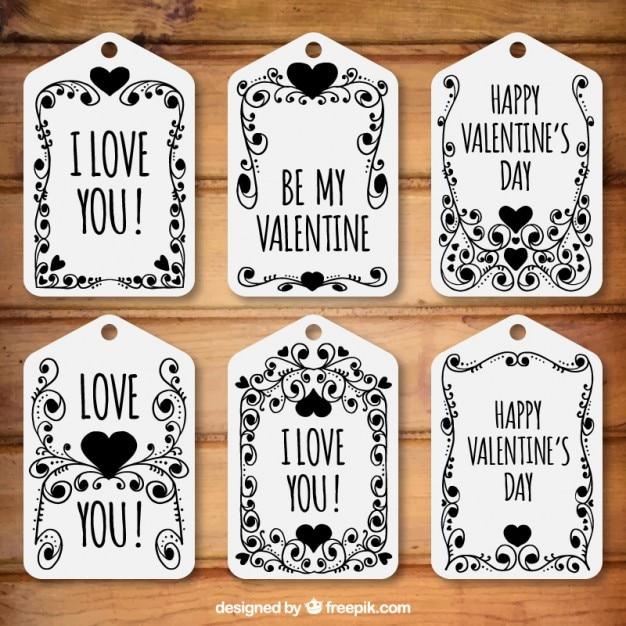 Pack de etiquetas florales del día de san valentín en color negro ...