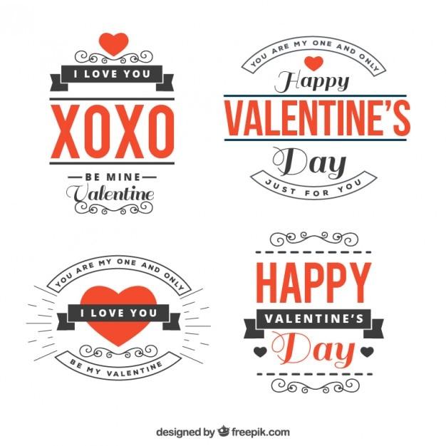 Pack De Frases Del Día De San Valentín Vector Gratis