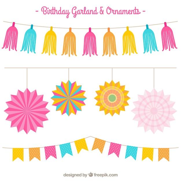 Pack de guirnaldas de colores de fiesta de cumplea os for Guirnaldas para fiestas infantiles
