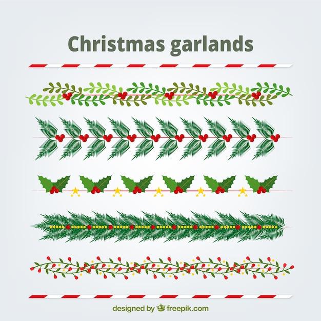 pack de guirnaldas naturales de navidad vector gratis - Guirnaldas Navidad