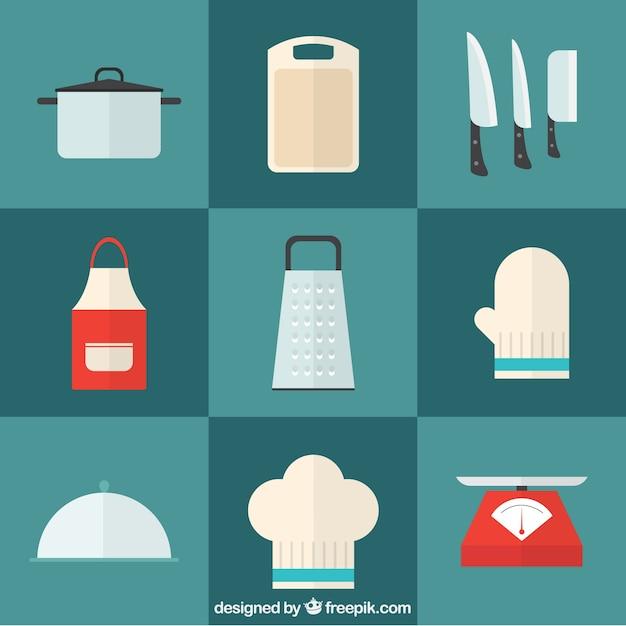 Pack de instrumentos de cocina en dise o plano descargar for Instrumentos de cocina