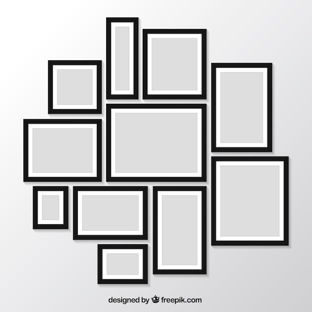 Pack de marcos de fotos modernos en la pared | Descargar Vectores gratis