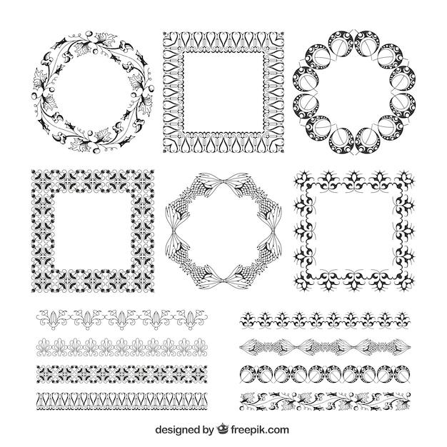 Pack de marcos decorativos y bordes descargar vectores - Marcos decorativos ...