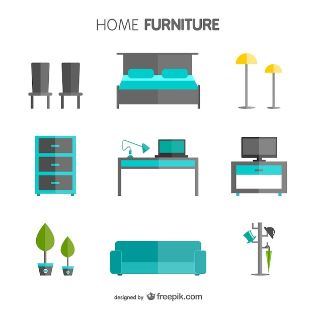 Pack de muebles del hogar descargar vectores gratis - Muebles del hogar ...
