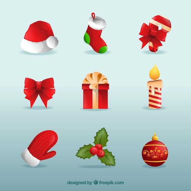 Pack de objetos de navidad descargar vectores gratis - Objetos de navidad ...