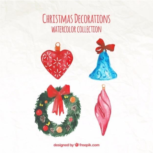 Pack de ornamentos de navidad de acuarela descargar - Ornamentos de navidad ...