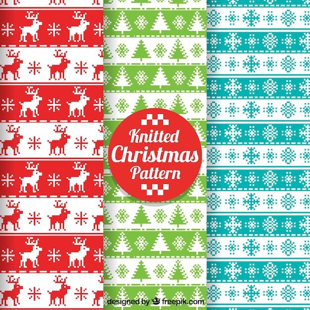 Pack de patrones de navidad de punto de cruz | Descargar Vectores gratis