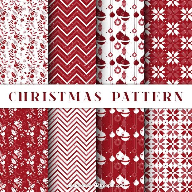 pack de patrones de navidad decorativos en color rojo vector gratis